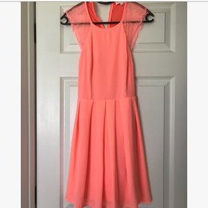 L'ATISTE by Amy Neon Coral Skater Dress